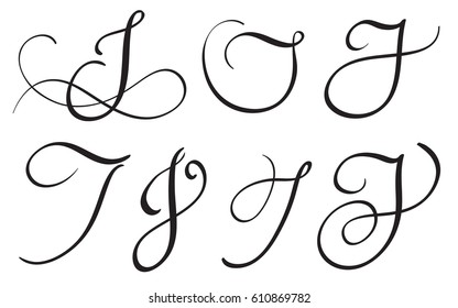 set of art calligraphy letter J with flourish of vintage decorative whorls. Vector illustration EPS10