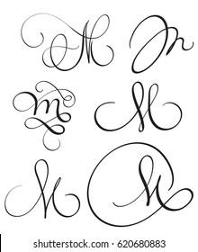 set of art calligraphy letter m with flourish of vintage decorative whorls vector illustration eps10