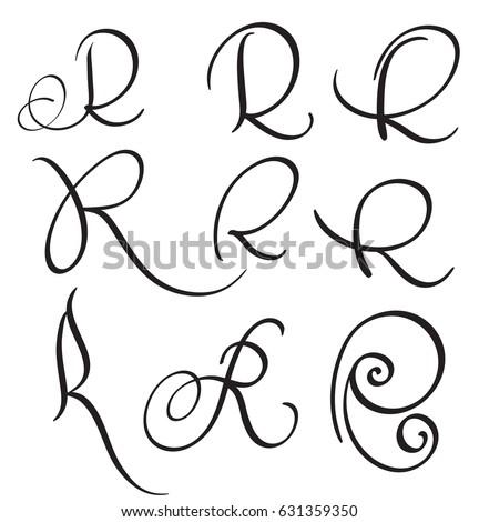 Set Of Art Calligraphy Letter R With Flourish Vintage Decorative Whorls Vector Illustration EPS10
