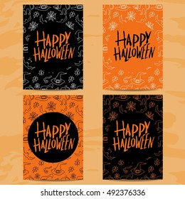Set of art cards for Happy Halloween.Design  template for flyers, posters,ecards, invitations, brochures.Creative style. Vector illustration