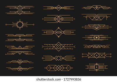 Set of Art deco black calligraphy page dividers. Patterns, ornaments in art deco style. 1920s vintage gold dividers, retro header graphic elements, flourishes vignettes decoration for design. Vector.