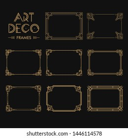 Set of Art deco borders and frames. Creative template in style of 1920s for your design. Vector illustration. EPS 10