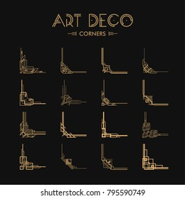 Set of Art deco corners for borders and frames. Creative template in style of 1920s for your design. Vector illustration. EPS 10