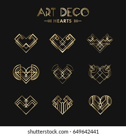 Set of Art deco geometric hearts. Creative template in style of 1920s for your design. Vector illustration. EPS 10