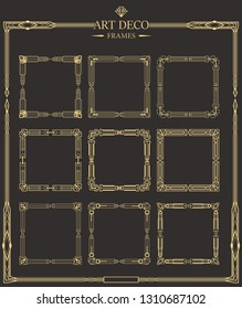 Set of Art deco gold calligraphic page dividers. Vector golden flourishes page decoration vignettes. Frames template in style of 1920s for your design.