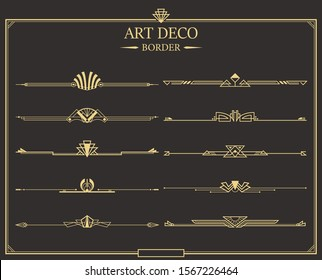 Set of Art deco gold calligraphic page dividers. Vector golden flourishes page decoration vignettes. header and border template in style of 1920s for your design.