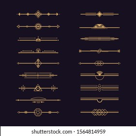 Set of art deco gold ornament. Vintage page dividers in style of 1920s. Vector gold borders, retro graphic elements, header page decoration vignettes