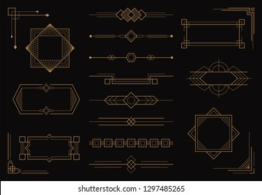 Set of art deco line border patterns and ornaments. Modern creative arabic golden frames,  geometric vintage label, antique vector design template in style of 1920s.