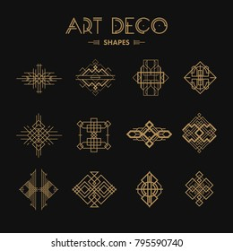 Set of Art deco shapes and signs. Creative template in style of 1920s for your design. Vector illustration. EPS 10