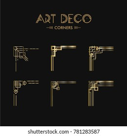 Set of Art decocorners for frames. Creative template in style of 1920s for your design. Vector illustration. EPS 10