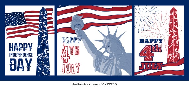 Set of art design of Statue of Liberty with american flag. Design for fourth july celebration USA. American symbol.