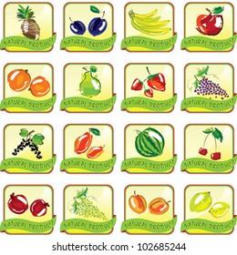 Set of art fruit icons. Illustration