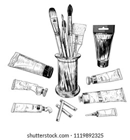 A set of art materials. A variety of brushes and tubes with paints. Hand-drawn vector illustration of art materials in vintage style. Sketch.