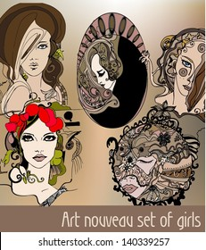 set of art nouveau style illustrated women - vector illustration