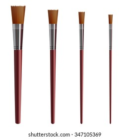 Set of art supplies: flat brushes isolated on white. VECTOR. Vinous color