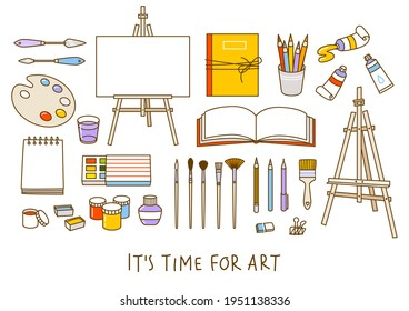 Set of art supplies isolated on white - easel, sketchbooks, paints, watercolor, palette, brushes, drawing pencils - cartoon objects for happy art design