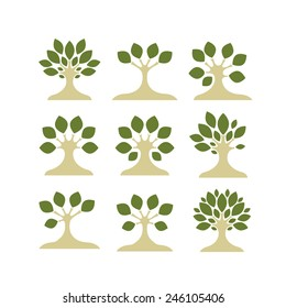 Set of art trees for your design. Vector illustration