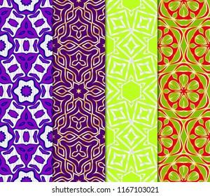 Set of Art-deco pattern. Seamless. Arabesque. vector illustration. For invitation wedding, valentine's, background, wallpaper.