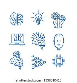 Set of artificial intelligence icons with brain, light bulb, chip, circuit borad structure, algorithm, android head. Concept for AI. Hand drawn blue line art cartoon vector illustration.