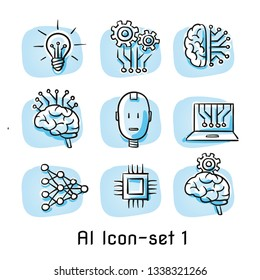 Set of artificial intelligence icons with brain, light bulb, chip, circuit borad structure, algorithm, android head. Concept for AI. Hand drawn cartoon sketch vector illustration colored on blue tiles