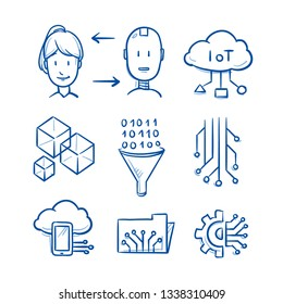 Set of artificial intelligence icons with IOT, cubes, big data funnel, circuit borad structure, human and android faces. Concept for AI. Hand drawn blue line art cartoon vector illustration.