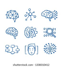 Set of artificial intelligence icons with neural networks, artificial brains, search data, face recognition and flow chart. Concept for AI. Hand drawn blue line art cartoon vector illustration.