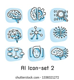 Set of artificial intelligence icons with neural networks, artificial brains, search data, face recognition and flow chart. Concept for AI. Hand drawn cartoon sketch vector illustration, colored