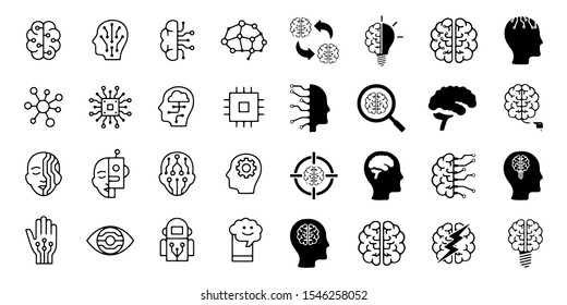 set of artificial intelligence related line icons contains such icons