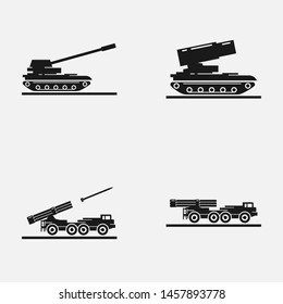 Set of artillery flat vector icons. Includes such elements as multiple launch rocket systems, self-propelled artillery and other military equipment.