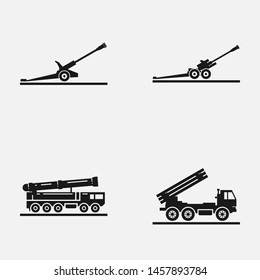 Set of artillery flat vector icons. Includes such elements as multiple launch rocket systems, howitzer and other military equipment.