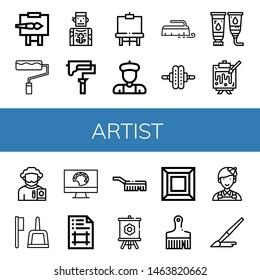 Set of artist icons such as Easel, Paint roller, Tattoo artist, Artist, Brush, Roller, Paint tube, Painting, Poet, Painting palette, Artboard, Canvas, Art, Painter ,