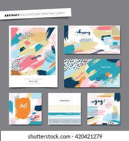 Set of artistic background greeting cards