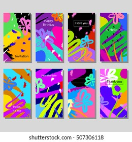 Set of artistic colorful universal cards. Wedding, anniversary, birthday, holiday, party. Design for poster, card, invitation