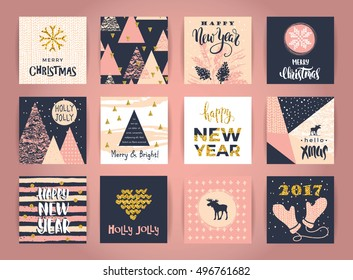 Set of artistic creative Merry Christmas and New Year cards. Hand Drawn textures and brush lettering. Design for poster, card, invitation, placard, brochure, flyer. Vector templates.