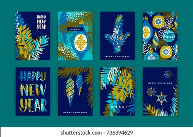 Set of artistic creative Merry Christmas and Nyew Year cyyards. Hand Drawn textuires. Design for poster, card, invitation, placard, brochure, flyer. Vector templates.