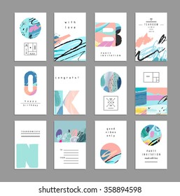 Set of artistic creative universal cards. Hand Drawn textures. Wedding, anniversary, birthday, Valentine's day, party. Design for poster, card, invitation, placard, brochure, flyer.  Vector. Isolated.