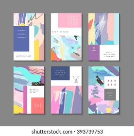 Set of artistic creative universal cards. Hand Drawn textures. Wedding, anniversary, birthday, Valentine's day, party. Design for poster, card, invitation, placard, brochure, flyer.  Vector. Isolated