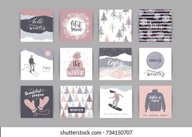 Set of artistic creative winter cards. Hand Drawn textuires. Design for poster, card, invitation, placard, brochure, flyer. Vector templates.