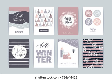 Set of artistic creative winter cards. Hand Drawn textures. Design for poster, card, invitation, placard, brochure, flyer. Vector templates.