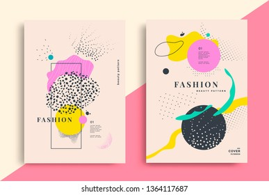 Set of artistic fashion universal posters design. Vector composition with dots and texturing geometric shapes Memphis style.