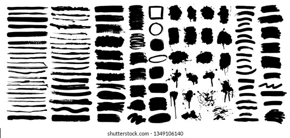 Set of artistic hand drawn grunge backgrounds, textures, lines, brush strokes, splatters.