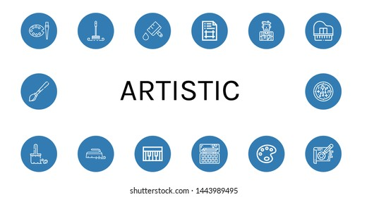 Set of artistic icons such as Art, Brush, Paint brush, Artboard, Artist, Piano, Painting palette, Paint palette, Note, Musical notes , artistic