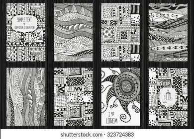 Set of  artistically cards. Ethnic patterns.  A4 sizes. Anniversary, birthday cards.  Valentin's day, party card. Hand-drawn, ethnic, floral, retro, doodle, vector, zentangle, tribal design element.