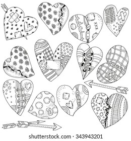 Set of artistically hand drawn hearts. Valentines day background. Pattern for coloring book. Vector, doodle, zentangle, henna design elements.  Black and white. Made by trace from sketch Coloring book