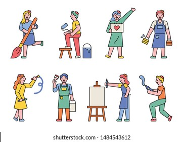 A set of artists' figures holding art tools. flat design style minimal vector illustration.
