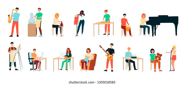 Set of artists, men and women. Pianist and potter, sculptor and designer, artist and singer. Seamstress and writer, guitarist and saxophonist, isolated flat vector illustration.