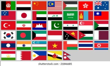 set of asia, australia and ozeania flags vector illustration