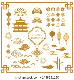Set of Asian decoration elements for the Chinese banner template. A large set of Chinese characters cloud, Chinese frame, wave, knot, sakura flowers, temple. flat vector illustration on the background