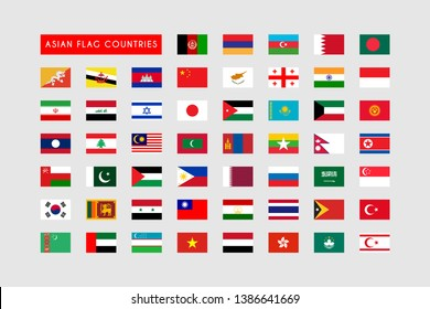 Set of Asian Flag Countries, All Asian flag countries template design. Vector Eps 10
