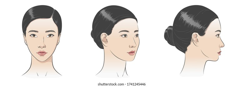 Set of Asian korean women portrait three dimension angles. Close-up vector line sketch. Different view front, profile side, three-quarter view of a girl face. Vector illustration